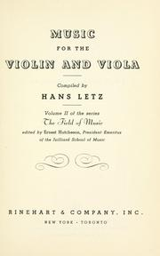 Cover of: Music for the violin and viola | Hans Letz