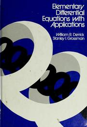 Cover of: Elementary differential equations with applications | William R. Derrick