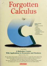 Cover of: Forgotten calculus by Barbara Lee Bleau