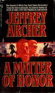 Cover of: A matter of honor | Jeffrey Archer