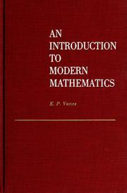 Cover of: An introduction to modern mathematics | Elbridge Putnam Vance