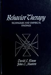 Cover of: Behavior therapy: techniques and empirical findings | David C. Rimm