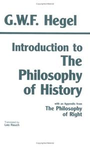 Cover of: Introduction to the Philosophy of History: With Selections from the Philosophy of Right
