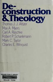 Cover of: Deconstruction and theology | Thomas J.J. Altizer ... [et al.]