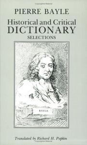 Cover of: Historical and critical dictionary
