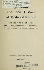 Economic and social history of medieval Europe by Pirenne, Henri