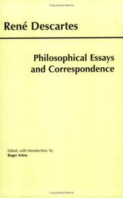 Cover of: Philosophical Essays and Correspondence (Descartes) (Hackett Publishing Co.)