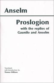 Cover of: Proslogion, with the Replies of Gaunilo and Anselm