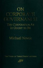 Cover of: On corporate governance | Novak, Michael.