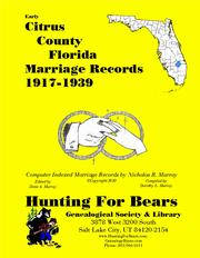 Cover of: Early Citrus County Florida Marriage Records 1917-1939