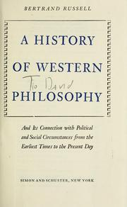 Cover of: A history of western philosophy | Bertrand Russell
