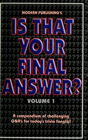 Cover of: Is that your final answer ? |