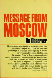 Cover of: Message from Moscow, by an observer | An observer