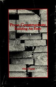 Cover of: Prose construction | Nick Durso