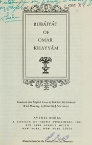 Cover of: Rubaiyat of Omar Khayyam...rendered into English verse | Omar Khayyam