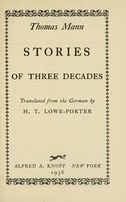Stories of three decades by Thomas Mann