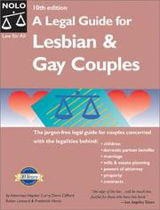 Cover of: A legal guide for lesbian and gay couples |