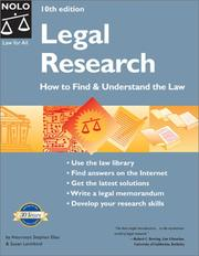Cover of: Legal Research: how to find and understand the law