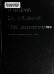 Cover of: American constitutional law | Martin M. Shapiro