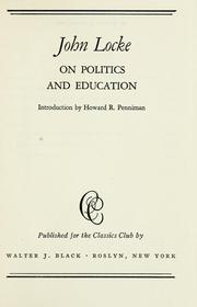 Cover of: On politics and education. by John Locke