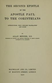 Cover of: The Second Epistle of the Apostle Paul to the Corinthians | Allan Menzies