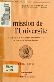 Cover of: La mission de l'universite by Georges Gauthier