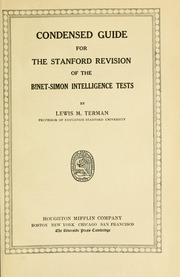 Cover of: Condensed guide for the Stanford revision of the Binet-Simon intelligence tests | Terman, Lewis Madison