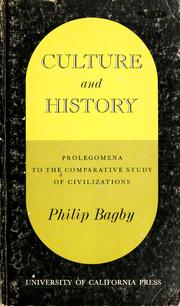 Cover of: Culture and history | Philip Bagby