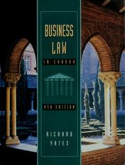 Cover of: Business law in Canada | Richard A. Yates
