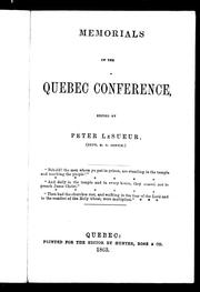 Cover of: Memorials of the Quebec conference | Wesleyan Methodist Church in Canada. Conference