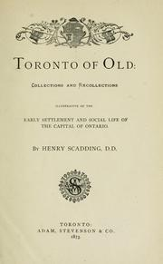 Cover of: Toronto of old | Henry Scadding