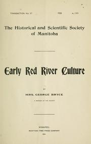 Cover of: Early Red River culture | Marion Bryce