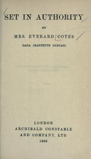 Cover of: Set in authority | Cotes, Everard Mrs