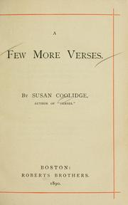 Cover of: A few more verses | Susan Coolidge