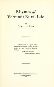 Cover of: Rhymes of Vermont rural life by Daniel Leavens Cady