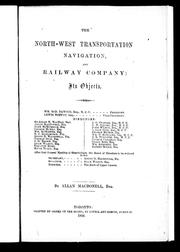 Cover of: The North-West Transportation, Navigation and Railway Company | Allan MacDonell