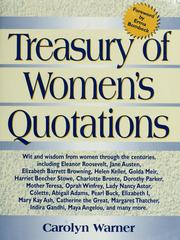 Cover of: Treasury of women's quotations | [compiled by] Carolyn Warner; forward by Erma Bombeck
