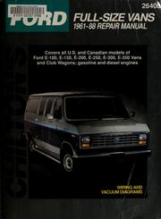 Cover of: Chilton's Ford full size vans, 1961-88 repair manual | Nick D'Andrea