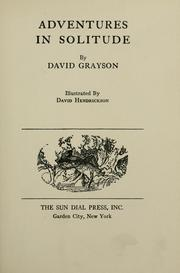 Cover of: Adventures in solitude | David Grayson