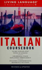 Cover of: Italian coursebook | Lorraine-Marie Gatto