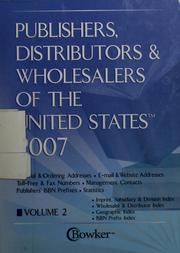 Cover of: Publishers, distributors & wholesalers of the United States, 2007 |