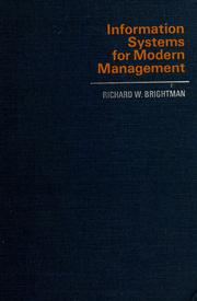Cover of: Information systems for modern management by Richard W. Brightman