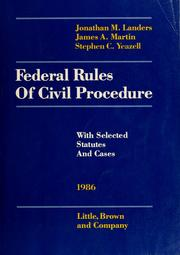 Cover of: Landers and Martin federal rules of civil procedure by United States. Supreme Court.