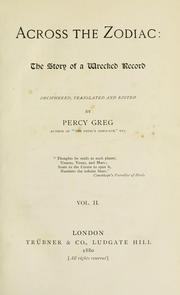 Cover of: Across the zodiac | Percy Greg