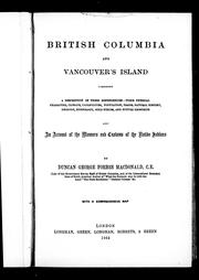 Cover of: British Columbia and Vancouver's Island by Duncan George Forbes Macdonald