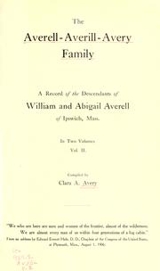 Cover of: The Averell-Averill-Avery family by Clara Arlette Avery