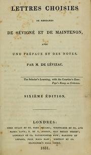 Cover of: Lettres choisies de Mesdames De Sévigné et Du Maintenon by Marie de Rabutin-Chantal