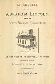 Cover of: An address delivered by Abraham Lincoln | Abraham Lincoln