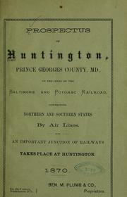 Cover of: Prospectus of Huntington | Joseph Meredith Toner Collection (Library of Congress)