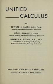 Cover of: Unified calculus | Edward S. Smith